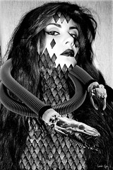 donna con serpente (Lorelei Eyre) Tags: concept surrealist art snake black white montage monochrome woman dark graphic photoshop fineart distopic oneric abstract oscuro monochromatic nero dream strange sensual