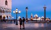 Piazza San Marco and Doge's Palace at Night (BOCP) Tags: piazzasanmarco dogespalace ducalpalace columns stmark sttheodore sangiorgiomaggiore couple people venice venezia veneto italy italia night bluehour longexposure slowshutterspeed city cityscape urbanlandscape travel