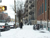 Snow walker (paulsvs1) Tags: snow walk woman alone bokeh waterdroplets window brooklyn williamsburg newyorkcity nyc urban streetphotography panasonic dmcfz35 outoffocus