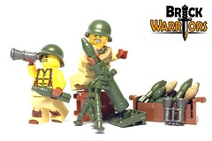 Jan 2017 - WW2 Mortar Man (BrickWarriors - Ryan) Tags: brickwarriors custom lego minifigure weapons helmets armor ww2 world war military usa mortar torso printed tube shell binoculars guns