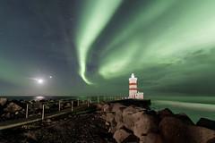 Moon,Venus and Mars plus Aurora (Kjartan Guðmundur) Tags: iceland ísland auroraborealis northernlights norðurljós ngc nordlys polarlict zorzapolarna stars sky ocean lighthouse kjartanguðmundur arctic photoguide
