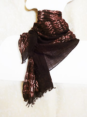 "Hand-dyed cashmere scarf ""Darkchocolate with peanuts"" (arireven) Tags: shibori scarf cashmere silk wool whisperofsilk wrap brown"