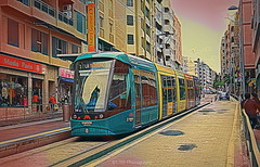 Tram (Rollingstone1) Tags: streetcar tram transport public calle street tranviadetenerife santa cruz tenerife buildings city ciudad capital art photoart train