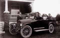 At the McNish Home, about 1919 (JFGryphon) Tags: willysoverland nettiebookmanmcnish florencemcnish ansonmcnish westonontario oldconvertiblecar mysterycar 1919studebakerlightfour 1919studebaker