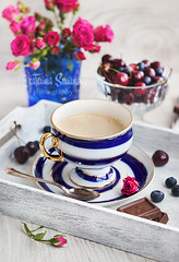 Coffee time (Katty-S) Tags: flowers food cup coffee rose milk berries drink chocolate beverage mug foodphotography foodstyle
