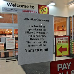 Former Shoppers in Ellicott City, Maryland (SchuminWeb) Tags: county city food 6 signs sign retail last shopping out for store am md october closed day ben howard web saturday 7 maryland super 18th fresh business pharmacy h will signage be hours former grocery 18 pm stores operation groceries signing shoppers 7am mart supervalu ellicottcity 2014 ellicott retailer superfresh 6pm retailers retailing hmart schumin schuminweb