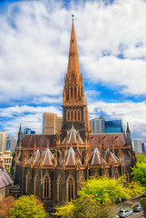 St Patrick's Cathedral, Melbourne (Scottmh) Tags: city blue sky building tower church skyline architecture clouds scott religious nikon cityscape skyscrapers cathedral outdoor religion australia melbourne victoria east software nik stpatricks lightroom kelby wwpw
