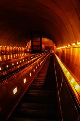 Rosslyn Metro Escalators, 5:20am (dlsills0141) Tags: travel vacation dark washingtondc dc metro escalator earlymorning tunnel rosslyn lookingdown dcmetro arlingtonva goingdown wmata 2015 rosslynva dcvisit dcvacation
