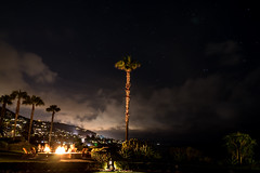 Montage bonfire (Doug Westlund) Tags: ocean california trees sunset sky usa holiday beach nature water architecture night garden fire restaurant hotel photo lowlight picture palm photograph montage laguna oc