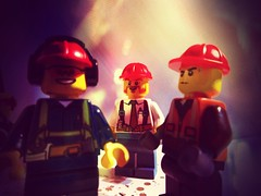 "Photo Series: Lego @work: ""Laughs on the night shift"" (Ken Whytock) Tags: lego toy plastic minifigure minifigs hardhats workers guys laughing smile jokes nightshift light overheadlight"