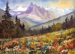 WildflowersNear Moraine Lake (Gail T. Cosby) Tags: mountains watercolor painting wildflowers landscape canadianrockies morainelake