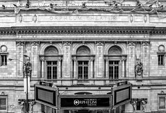 Orpheum Theater (Jae at Wits End) Tags: arch monochrome objects architecture window sign text theatre theater bw black blackwhite blackandwhite building glass gray grey letters message opening portal signage signboard structure white word writing