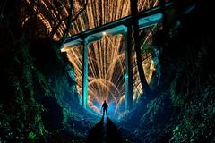 Under the bridge (palateth) Tags: lightpainting lightart night belgique belgie belgium nophotoshop singleexposure sooc fire fireworks katyusha bridge woods outdoor blue
