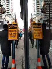 caution (Ian Muttoo) Tags: img20161214090240edit toronto ontario canada gimp caution falling ice snow cautionfallingiceandsnow sign orange yellow street walk walking reflection reflections
