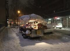 Fruit stand in the snow... (Skellig2008) Tags: snow nyc newyorkcity winter fruitseller fruitstand chair snowscene manhattan ues uppereastside streetlight light
