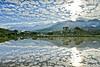 水漾淡水四 (686阿鴻) Tags: 風景 天空 倒影 山陵 水 農村