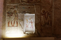 Painted Wall Reliefs and Niche (Chris Irie) Tags: egypt abydos seti temple relief