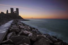 Reculver Tower Sunset (KVH-P) Tags: 2017 reculvertowers kent water waves wideangle england rocks travelphotography uklandscape uk nikond7000 ocean lowlight sea seascapes sunset d7000 gitzotripod leefilters cloudsstormssunsetsandsunrises beach beacheslandscapes hernebay sigma1020mm