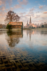 Stowe Pool - Lichfield (Dave Fieldhouse Photography) Tags: lichfielddistrict lichfield cathedral staffordshire staffordshirelife visitlichfield stowepool water ice frozen still reflections boatshouse trees sunrise morning winter foreground clouds fuji fujixt2 fujifilm 16mm