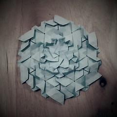 Crystallized (Clint Joe) (Clint Joe) Tags: origami tessellations tessellation tesspiece twists paper folding paperfolding papierfalten papermodeling oru kami copypaper clint yang isometric triangular origamitessellations art wood blue papers sheet