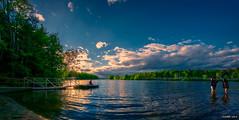 Late in the Day at Kearney Lake (kenmojr) Tags: summer sky lake canada water june clouds reflections evening novascotia fisheye wharf northamerica maritimes atlanticcanada kearneylake maritimeprovinces easterncanada atlanticprovinces kenmorris kenmo