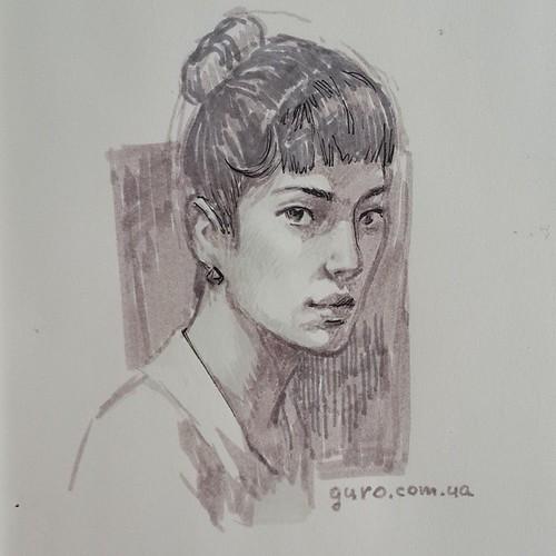 Быстрый портрет маркерами