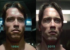 Arnold  Schwarzenegger Terminator T-800 Close-up face Comparison. (Neil Vance) Tags: pictures film face movie james moving team model badass schwarzenegger young picture neil company 101 observatory cameron terminator griffith comparison vfx vance sheldon paramount cgi mpc cyberdyne skydance genisys stopsack
