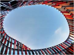 Oval Office III (tosch_fotografie) Tags: kln cologne deutschland germany nrw architektur architecture gebude builiding glas glass oval blau blue himmel sky sonnenuntergang sunset metall metal wolke clouds fenster windows rund round olympus omd em1 12mm
