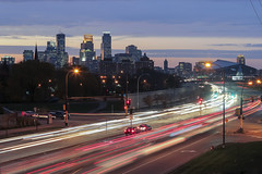 Hiawatha Light Trails (Sam Wagner Photography) Tags: minneapolis highway 55 hiawatha avenue road car light trails long exposure blue hour twilight cityscape skyline