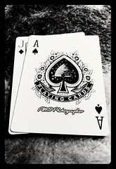 Jack of Diamonds, and the Ace of Spades (PhotoJester40) Tags: playingcards jackofdiamonds aceofspades bnw blackandwhite indoors inside amdphotographer