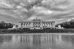 Schönbrunn (Christian Ferrari) Tags: bw blackandwhite white black travel wien schönbrunn clouds sky reflections water ice wind