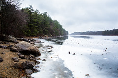 Day One Ten (k.a.craig) Tags: newengland nature park winter cold wet rainy rain mist fog clouds trees leaves season 365 water river ice shore reflection sky treeline rocks landscape