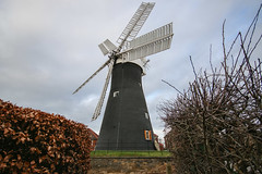Holgate Windmill, January 2017 - 8 (nican45) Tags: 1020 1020mm 1020mmf456exdc 2017 29january2017 29012017 canon dslr eos70d hwps holgate holgatewindmill january slr sigma york clouds fantail mill roundabout sail sails sky wideangle windmill