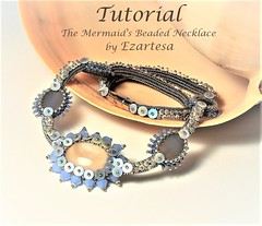beaded necklace tutorial (Ezartesa) Tags: tutorial necklacetutorial beadednecklace cabochon herringbone ezartesa shellnecklace