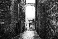 Together under the umbrella (www.streetphotography-berlin.com) Tags: streetphotography street streetlife couple under umbrella rain rainyday san gimignano tuscany italy blackandwhite blackwhite walk impressionistic impressionist impressionism