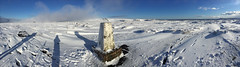 brown knollorama (Ron Layters) Tags: brownknoll trigpoint panorama winter snow cold sun icy frozen moorland moor kinderscout shadows tripod windswept white edale derbyshire england unitedkingdom phonecamera iphone apple appleiphone6 selftimer 10secondtimer ronlayters