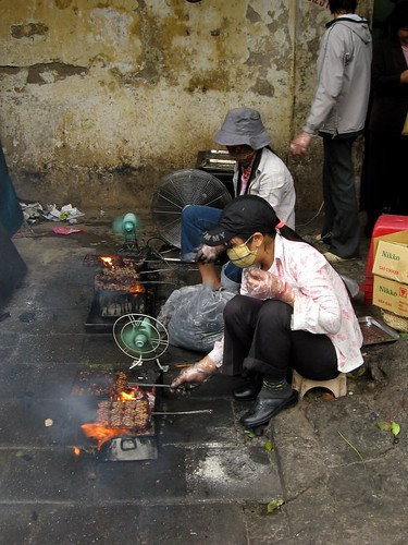 Grilling Bun Cha on the Street in Hanoi
