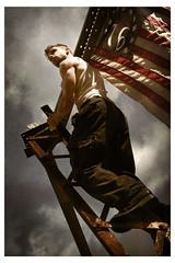 Rise up Youth of America (eqqman) Tags: selfportrait me topf25 youth america climb propaganda flag topv1111 100v10f icon 500v50f girder topi eqqman rrrowwwrrrr p1f1