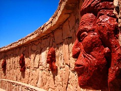Chile, San Pedro de Atacama: Why have you? (kool_skatkat) Tags: chile travel blue red sculpture southamerica face topv111 america catchycolors topv555 topv333 memorial saveme2 deleteme10 topv1111 topv999 topv444 statues tourist topv222 spanish topv777 publicart topv666 pick10 topv888 1620 810 2630 koolskatkat scoreme 4250 74points bluelist sanpredrodeatacama sanpredro 33540 abigfave