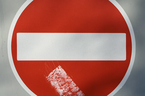 Red no entry sign by anthonygrimley, on Flickr