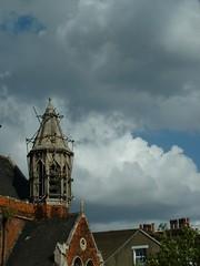 Broken (Zefrog) Tags: uk england sky urban london church architecture clouds scaffolding cityscape spire chruch guesswherelondon duplicate gwl zefrog