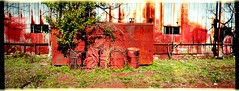 Drums (bradford daly) Tags: panorama green horizontal junk machine panoramic hasselblad junkyard scrapyard scrap xpan birminghamalabama criticismwelcome