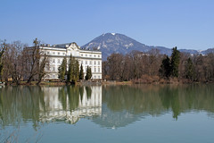 the Schlo Leopoldskron, Salzburg,  Austria, (rotraud_71 away again ~) Tags: mountain lake salzburg wow austria bluesky 123 palace schlo rococo earlyspring 1on1 123faves