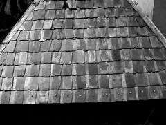 The substantial stone roof (Arpana/Rajal) Tags: roof bw india stone hp slope nailed