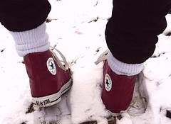 Final steps out of Winter (highchucker) Tags: snow footprints converse cons chucks chucktaylors sneaks hitops