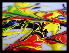 Emulsion (Chantal-Rose) Tags: red abstract macro yellow catchycolors paint acrylic great penpencilbrushink views50 interestingness112 i500 favourites5 artlibre