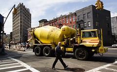 Big Yellow Concrete Truck Mixer (S.D.) Tags: nyc construction nikon walk d70s 2006 nikond70s walkabout 1870mm cementtruck april2006