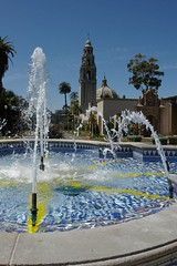 Balboa Park Getting A Shower (cwgoodroe) Tags: california park flower water fountain pool architecture reflecting san sandiego diego fisheye sd balboa balboapark sandeigo
