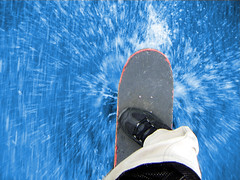 Skateboarding Through Water (Christiaan Leever NL) Tags: blue wild feet wet water foot dc movement surf board leg fast move skate skateboard splash 85points