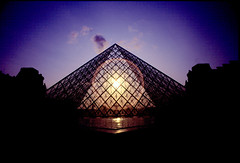 PyramidIV (jerikojosh) Tags: sunset urban paris france film architecture modern canon europe louvre geometry chrome museums contemporaryarchitecture kodak100vs firsttheearth